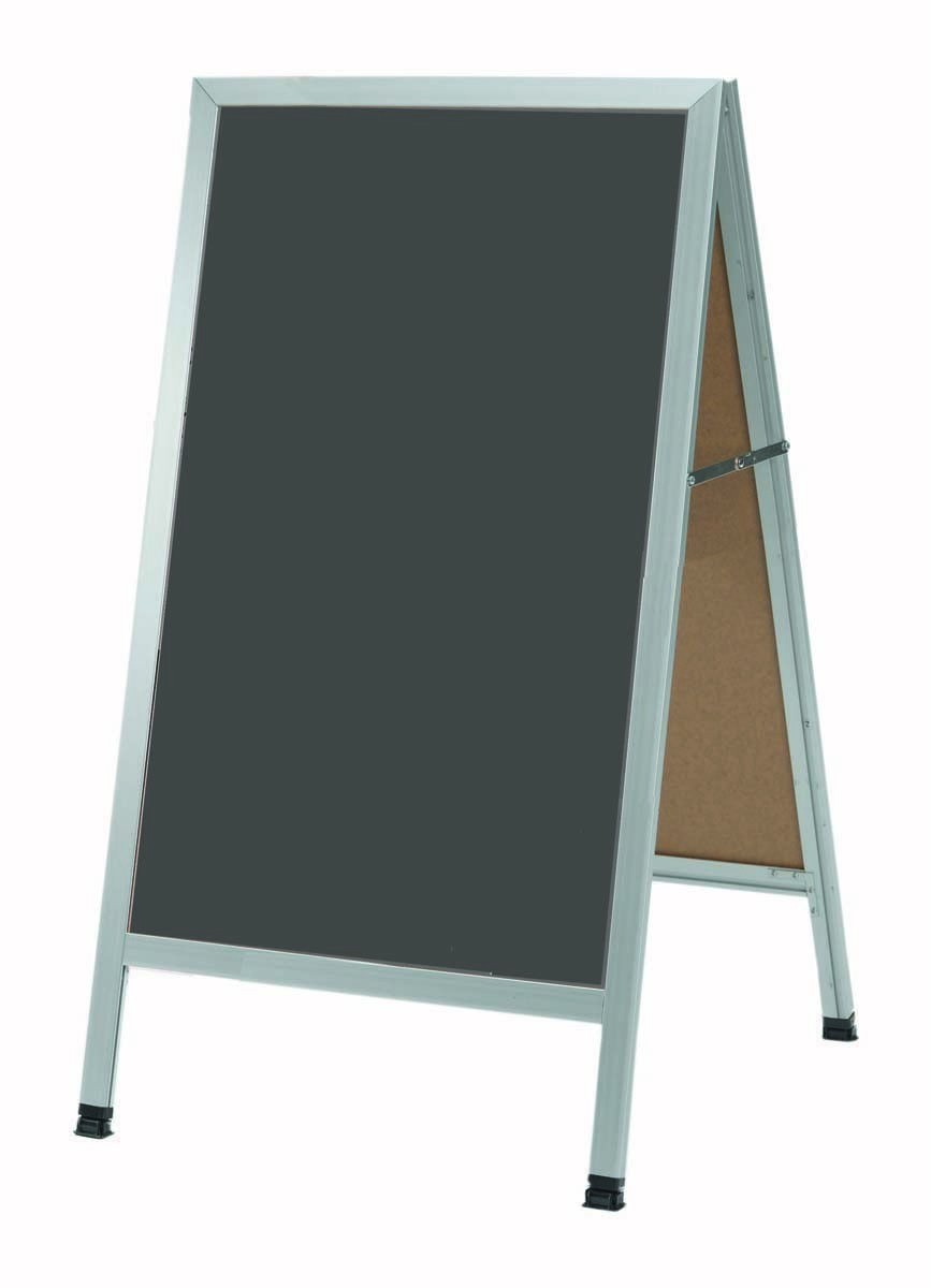"Aarco Products AA-1SS Aluminum A-Frame Sidewalk Slate Porcelain Chalkboard, 42""H x 24""W"