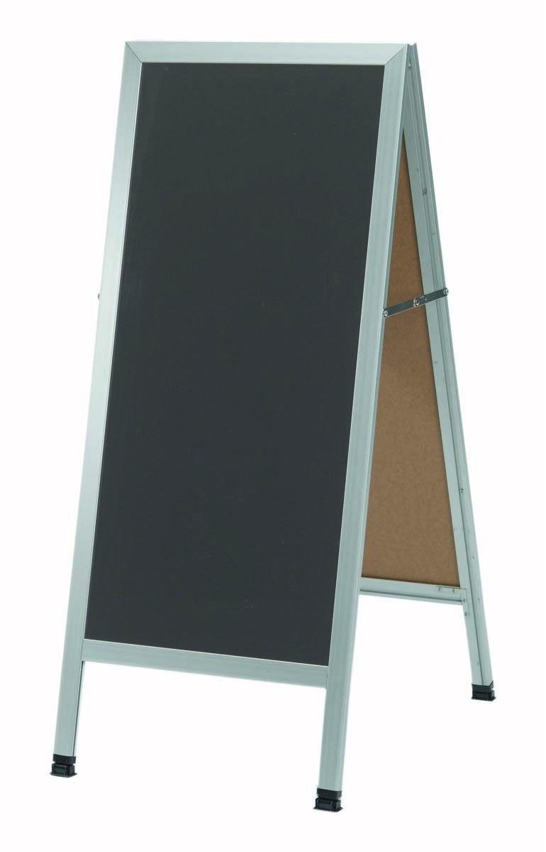 "Aarco Products AA-35SS Aluminum A-Frame Sidewalk Slate Porcelain Chalkboard, 42""H x 18""W"