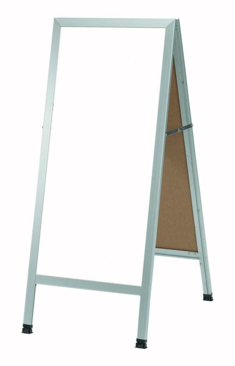 "Aarco Products AA-311SW Aluminum A-Frame Sidewalk White Porcelain Markerboard, 42""H x 18""W"