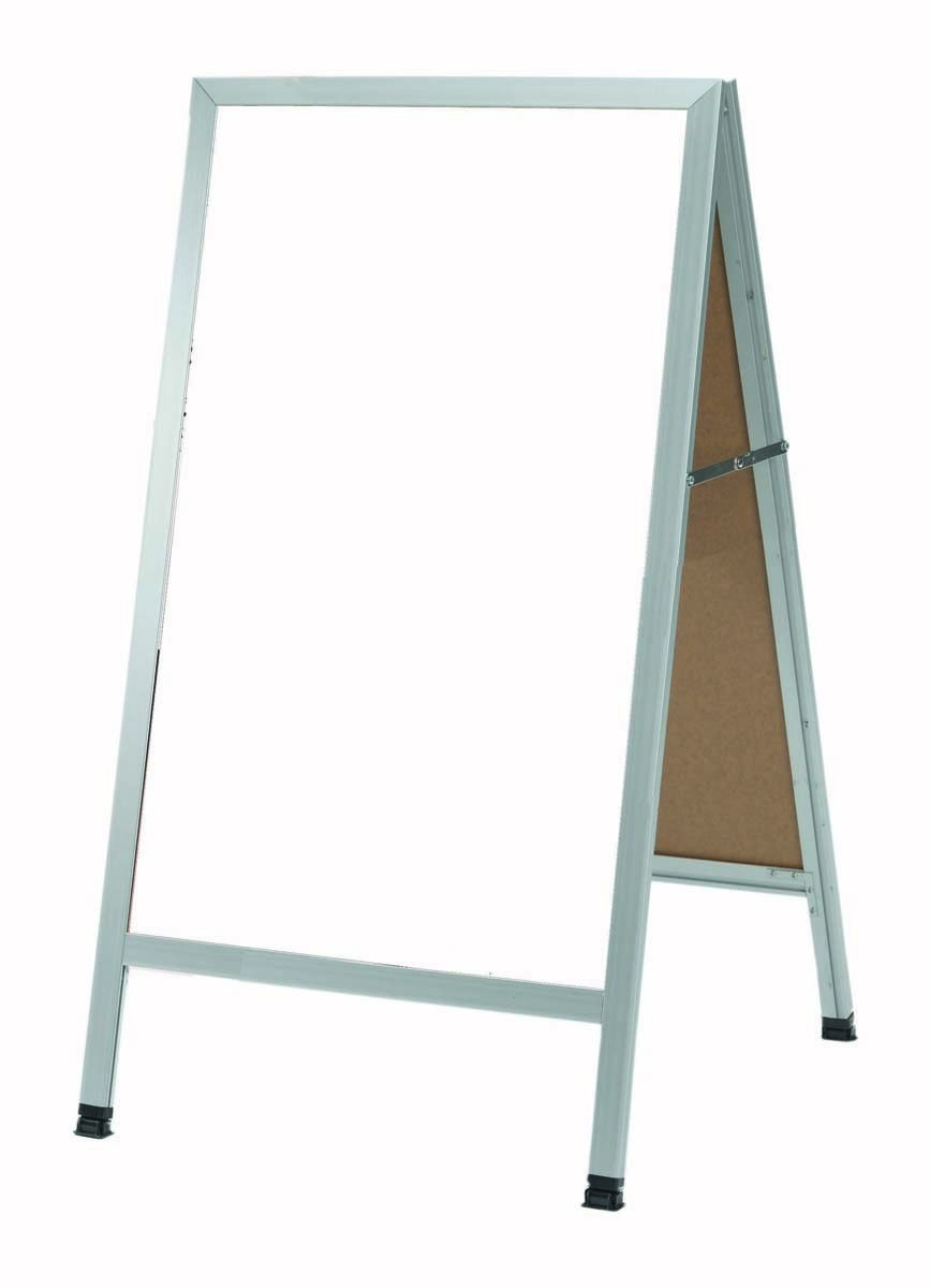 """Aarco Products AA-5SW Aluminum A-Frame Sidewalk White Porcelain Markerboard, 42""""H x 24""""W"""
