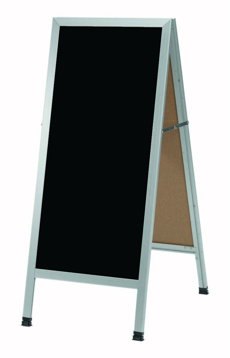 "Aarco Products AA-3B Aluminum Black Powder Coated A-Frame Sidewalk Composition Chalkboard, 42""H x 18""W"