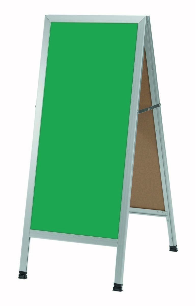 "Aarco Products AA-3G Aluminum Black Powder Coated A-Frame Green Composition Chalkboard, 42""H x 18""W"