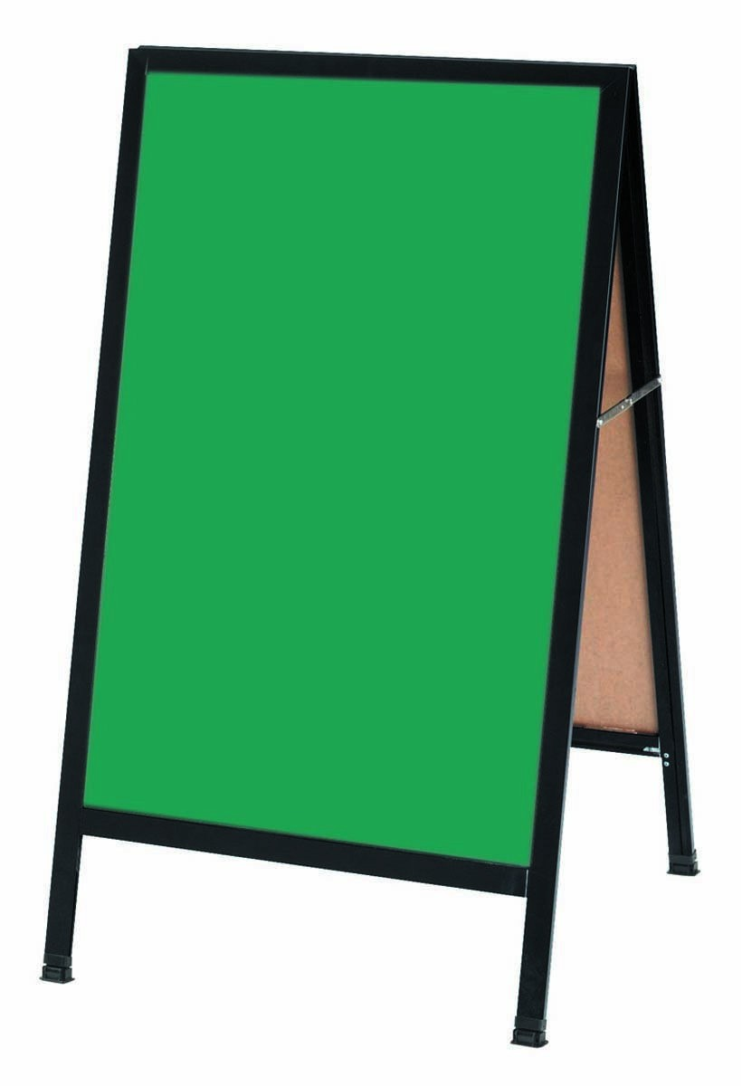 "Aarco Products BA-1G A-Frame Sidewalk Green Composition Chalkboard with Black Aluminum Frame  42""H x 24""W"