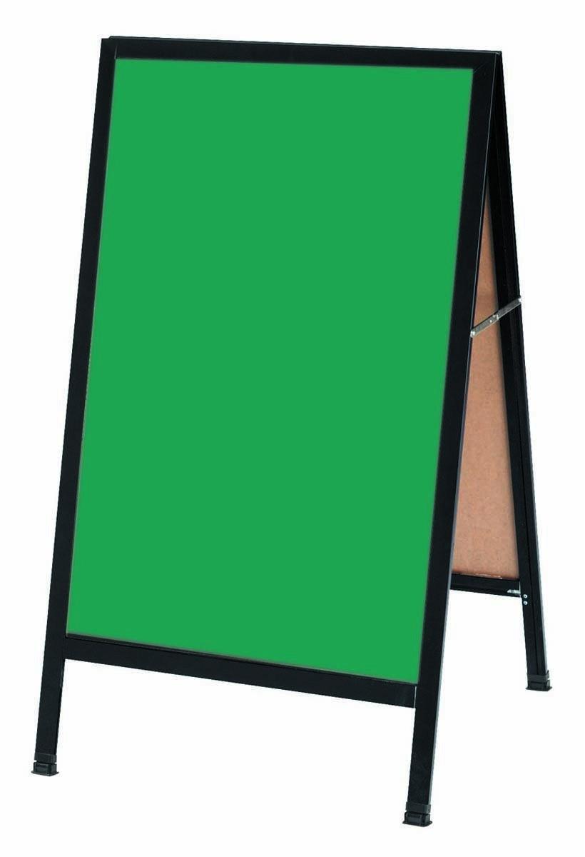 "Aarco Products BA-1SG A-Frame Sidewalk Green Porcelain Chalkboard with Black Aluminum Frame 24""W x 42""H"