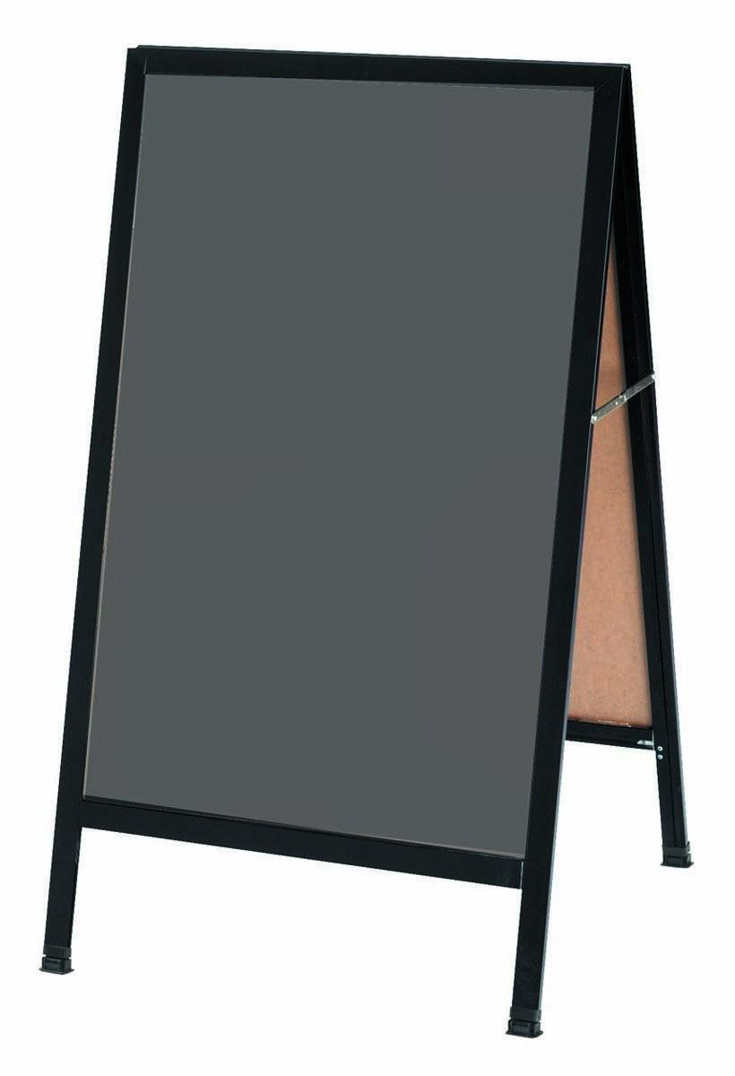Aarco Products BA-1SS A-Frame Sidewalk Slate Porcelain Chalkboard with Black Aluminum  Frame