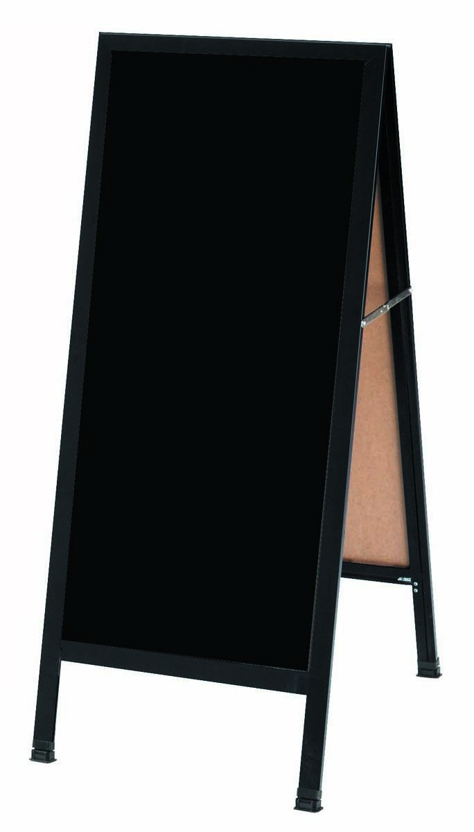 """Aarco Products BA-311SB A-Frame Sidewalk Black Porcelain Markerboard Black Aluminum Frame 42""""H x 18""""W"""