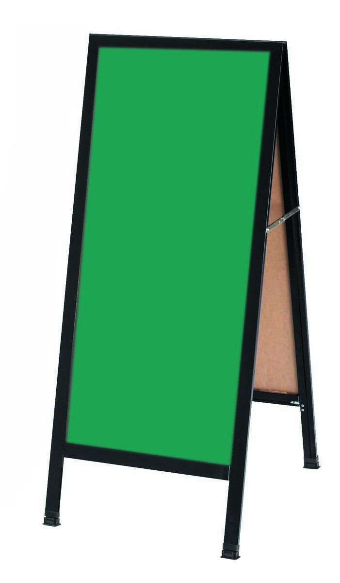 "Aarco Products BA-311SG A-Frame Sidewalk Green Porcelain Chalkboard with Black Aluminum Frame 42""H x 18""W"