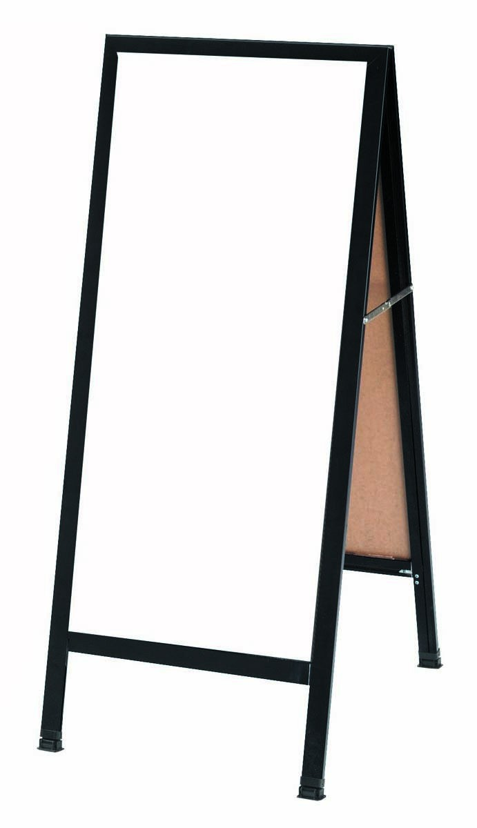 "Aarco Products BA-311SW A-Frame Sidewalk White Porcelain Markerboard with Black Aluminum Frame  42""H x 18""W"