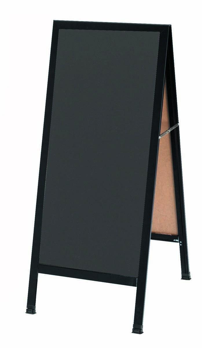 Aarco Products BA-35SS  A-Frame Sidewalk Slate Porcelain Chalkboard  with Black Aluminum Frame 42