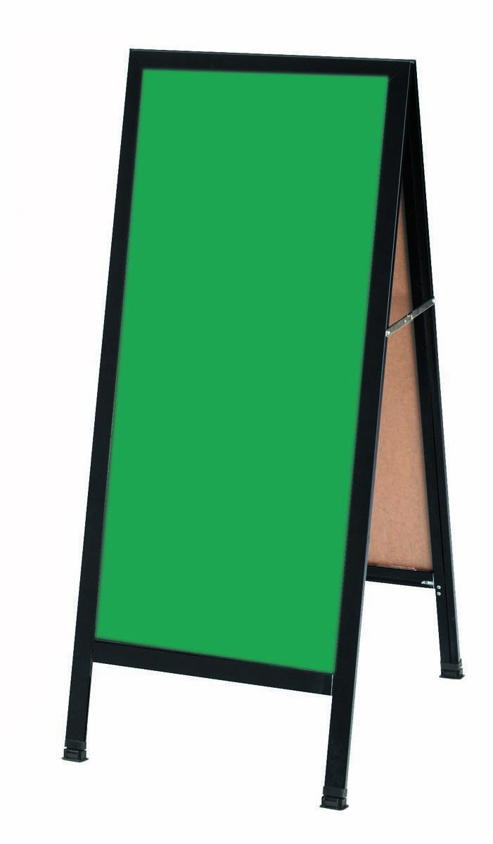 "Aarco Products BA-3G A-Frame Sidewalk Green Composition Chalkboard with Black Aluminum Frame 18""W x 42""H"