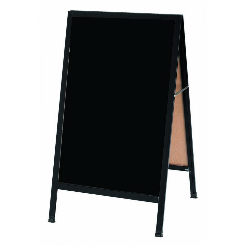 "Aarco Products BA-1B   A-Frame Sidewalk Black Composition Chalkboard with Black Aluminum Frame 42""H x 18""W"