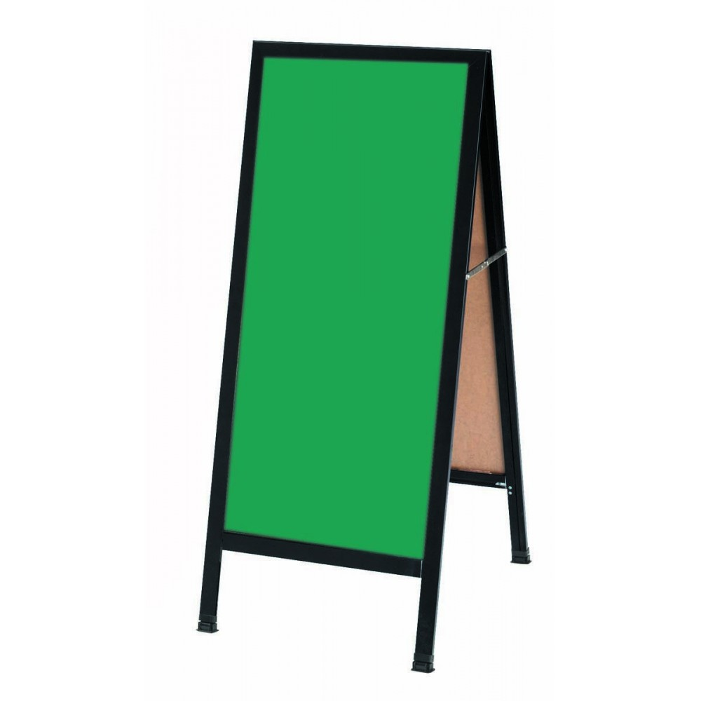 "Aarco Products BA-3G A-Frame Sidewalk Green Composition Chalkboard with Black Aluminum Frame 42""H x 18""W"