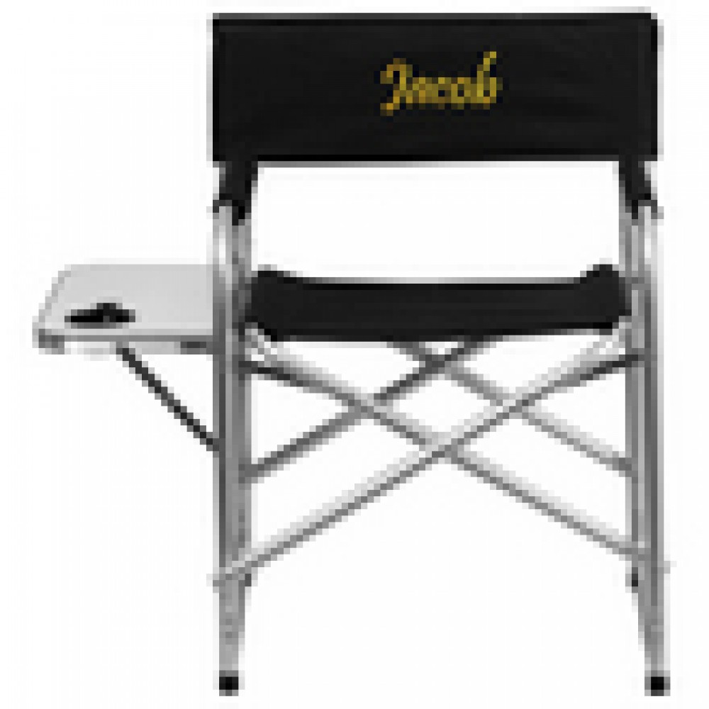 Flash Furniture TY1104-gg Aluminum Folding Camping Chair with Table and Drink Holder