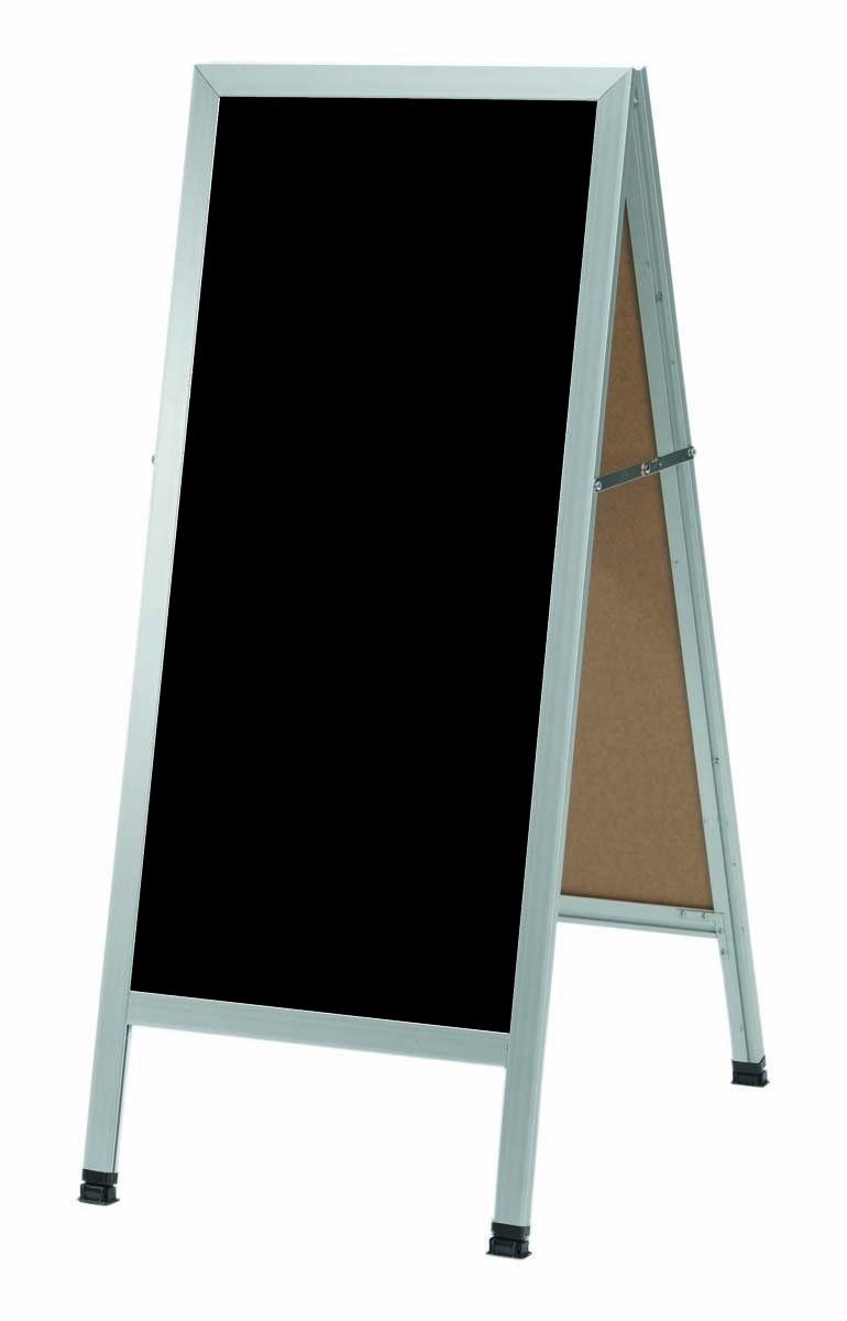 "Aarco Products AA-3BP Aluminum Frame Black Acrylic A-Frame Sidewalk Board 18""W x 42""H"