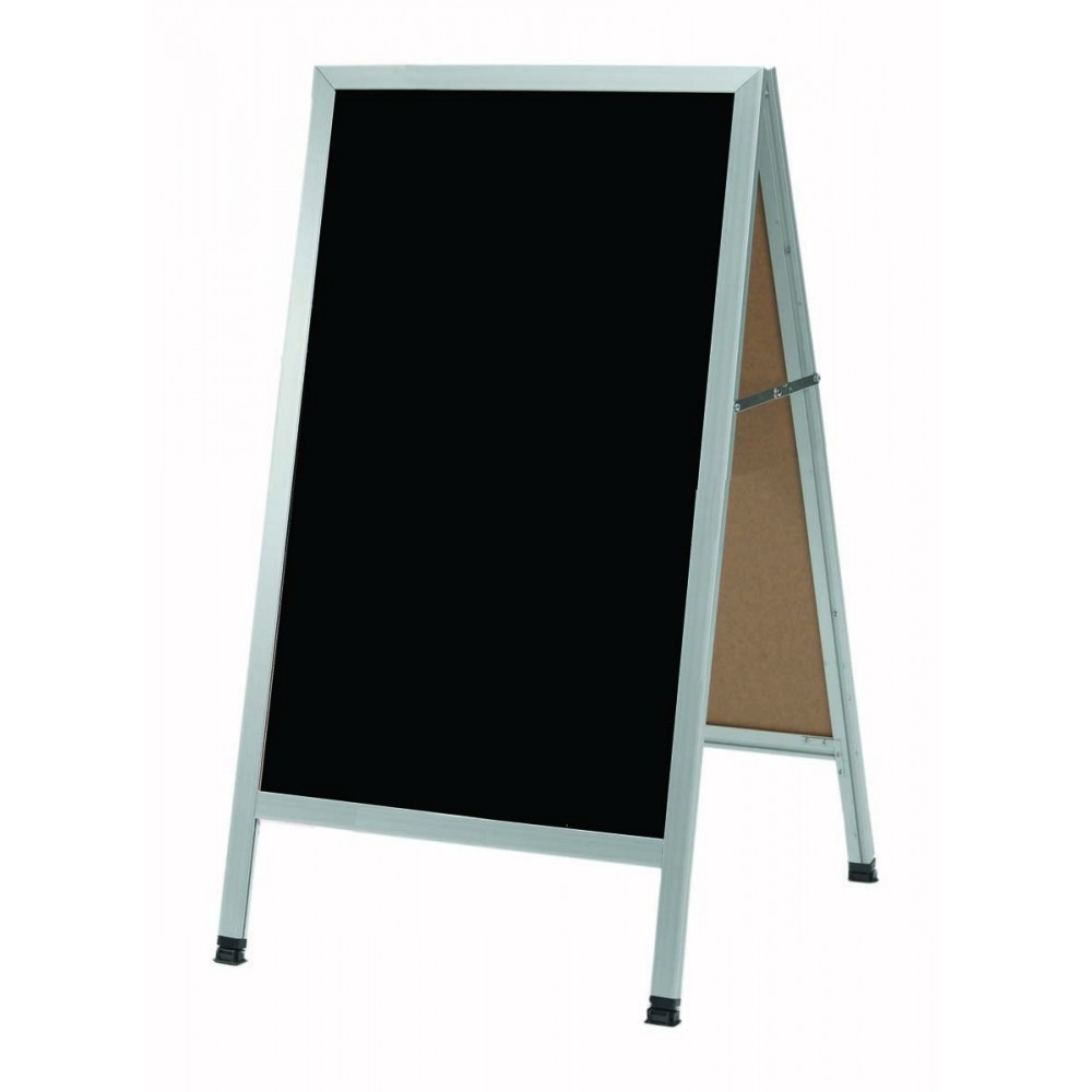"Aarco Products AA-11 Aluminum Frame Black Markerboard A-Frame 24""H x 42""W"