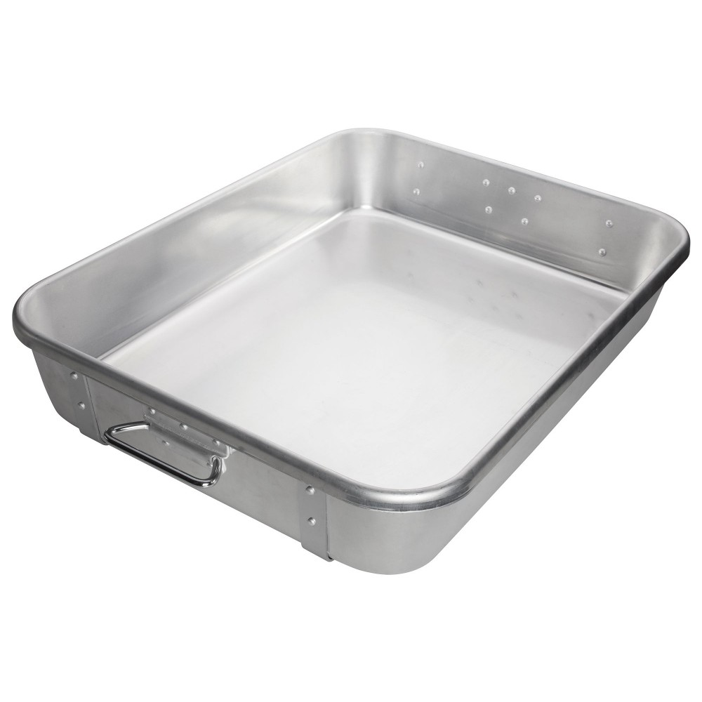 "Winco ALRP-1824 Aluminum Double Roasting Pan with Straps 18"" x 24"" x 4-1/2"""