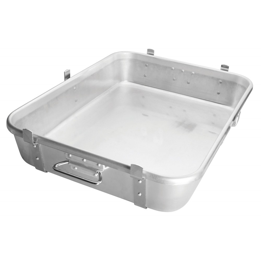 "Winco ALRP-1824L Aluminum Double Roasting Pan with Straps & Lugs 18"" x 24"" x 4-1/2"""