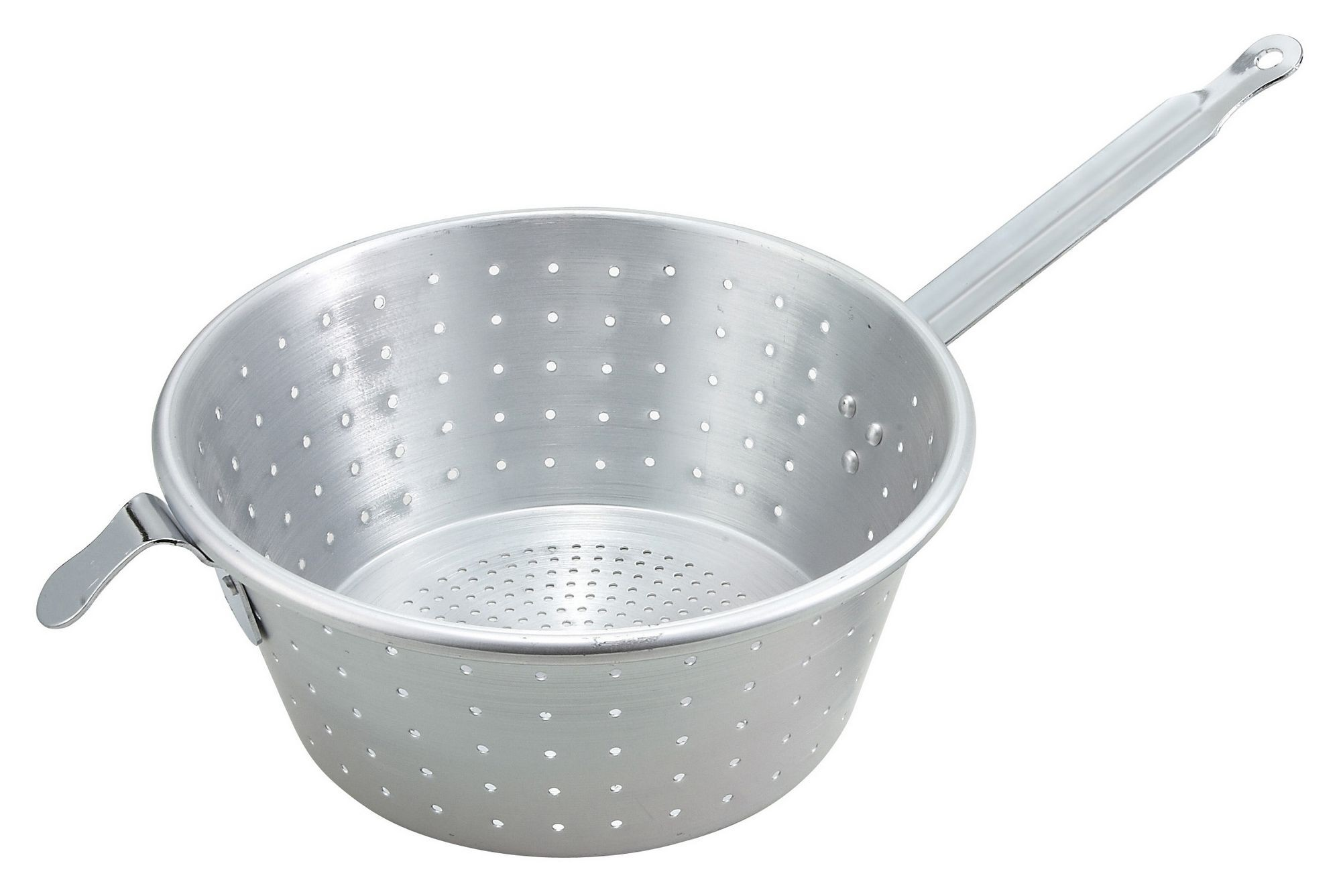 Winco ASS-09 Aluminum Spaghetti Strainer with Handle 9 Dia.