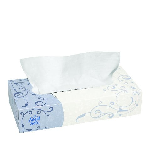 Angel Soft Flat-Box Facial Tissue 2-Ply, White