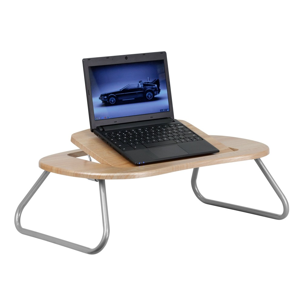 Angle Adjustable Laptop Computer Table with Dark Natural Top