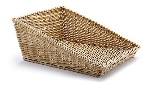 "Sloped Rectangular Willow Basket, 15-1/2"" x 19"""