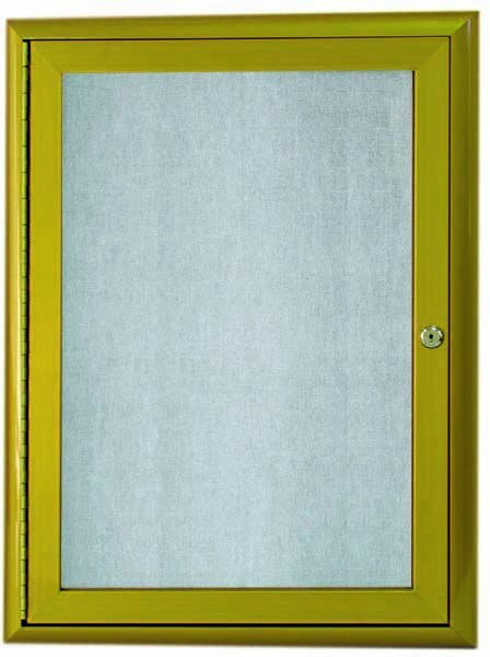"""Aarco Products OWFC2418Lb. Antique Brass Indoor/Outdoor Waterfall Series 1 Door Enclosed Bulletin Board, 24""""H x 18""""W"""