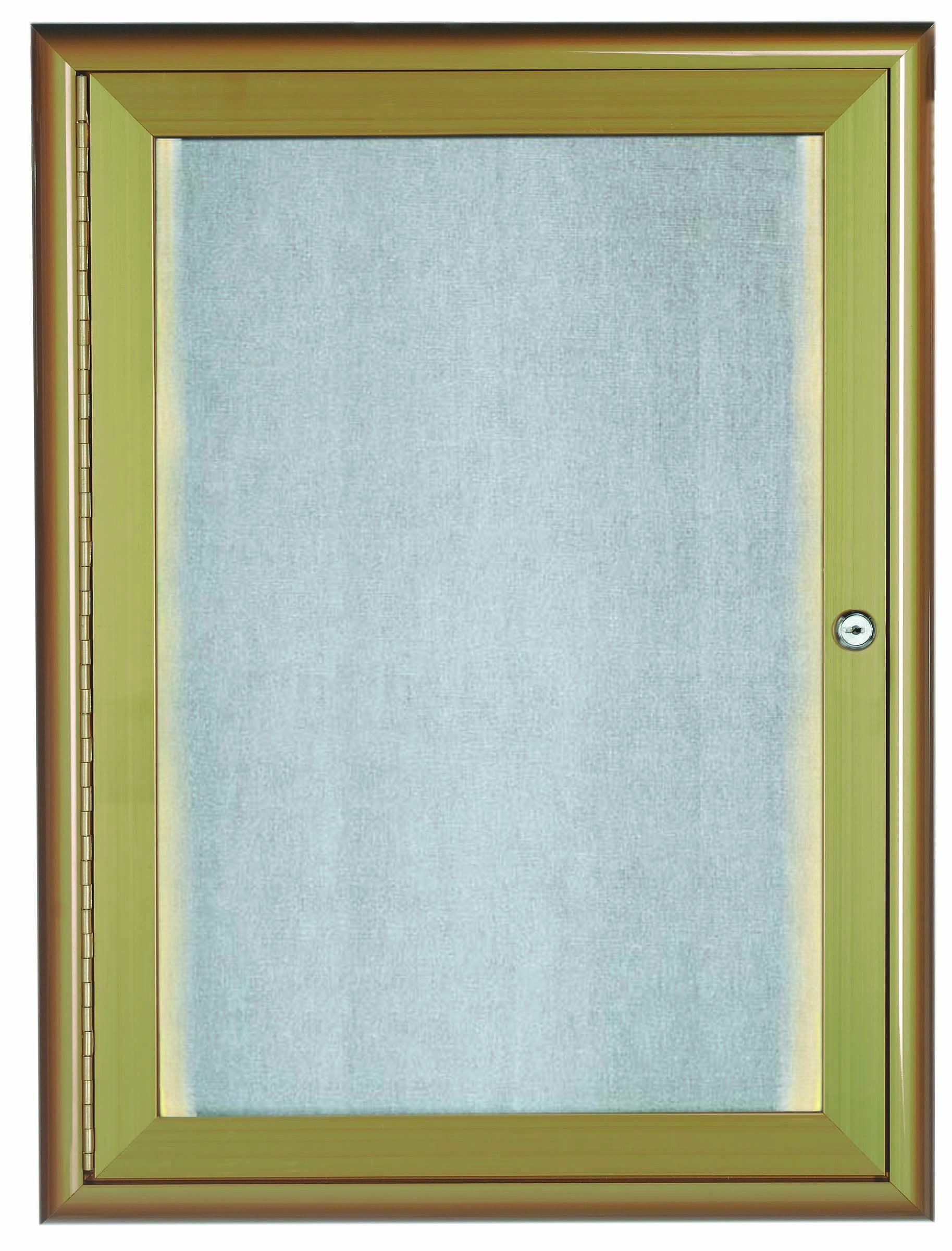 """Aarco Products LOWFC2418Lb. 1 Door LED Lighted Enclosed Bulletin Board with Aluminum Waterfall Style Frame Antique Brass, 24""""H x 18""""W"""