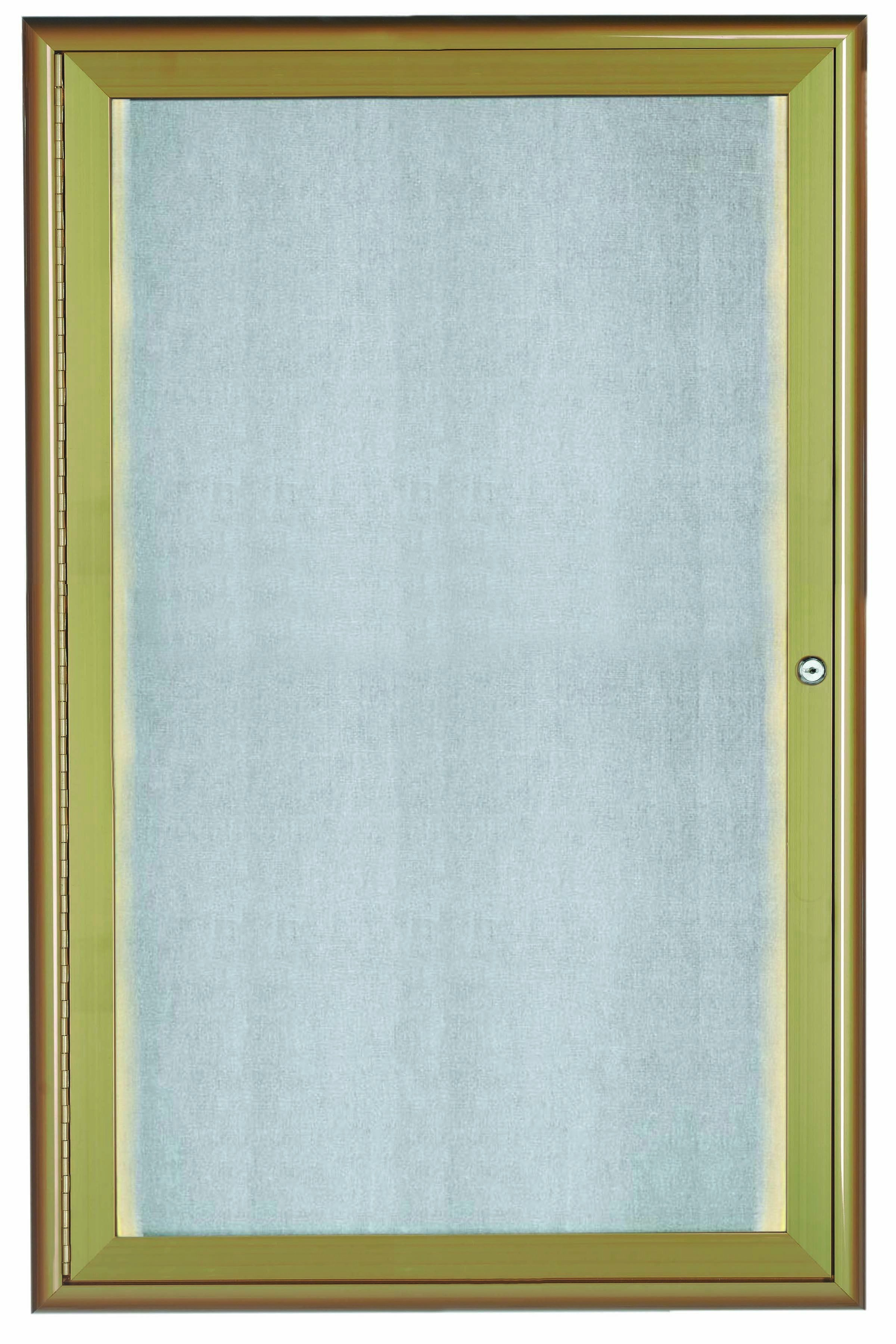 """Aarco Products LOWFC3624Lb. 1 Door LED Lighted Enclosed Bulletin Board with Aluminum Waterfall Style Frame Antique Brass, 36""""H x 24""""W"""