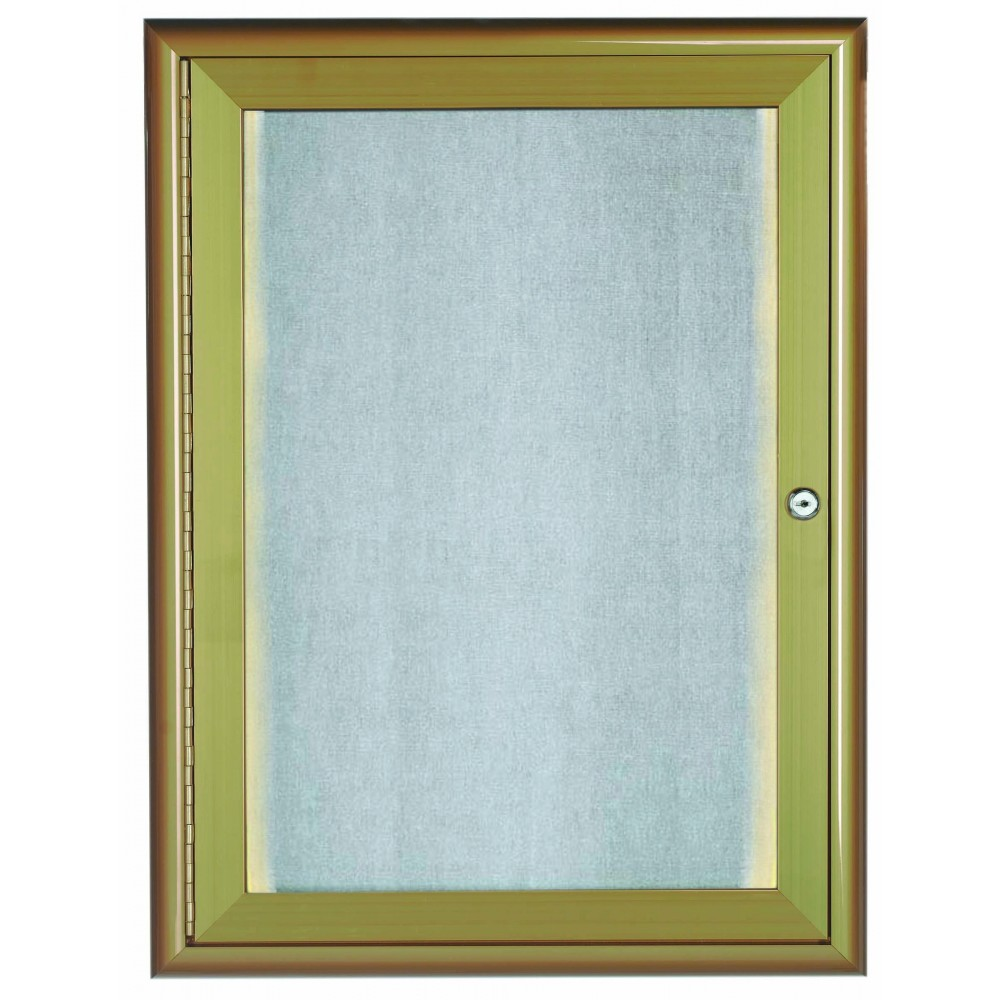 Antique Brass Indoor / Outdoor Waterfall Series Enclosed Bulletin Board W / LED Lighting,  24