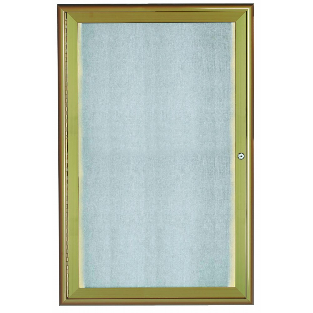 "Aarco Products LOWFC3624Lb. 1 Door LED Lighted Enclosed Bulletin Board with Aluminum Waterfall Style Frame Antique Brass, 36""H x 24""W"