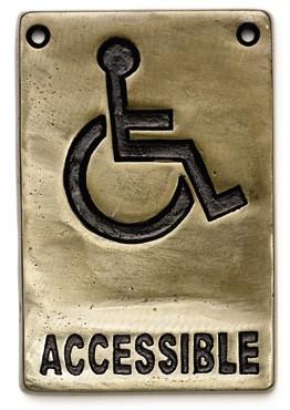 "TableCraft 465632 Antique Bronze Accessible Sign, 4"" x 6"""