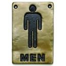 "TableCraft 465635 Antique Bronze Men Restroom Sign, 4"" x 6"""