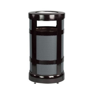 Architek Series Mesh Outdoor Receptacle, Round, Steel, 17 gal, Black