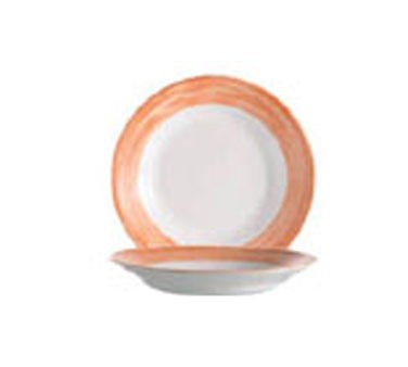 Arcoroc 23 Oz. Stacking Brushed Orange Rim Soup Dish - 9