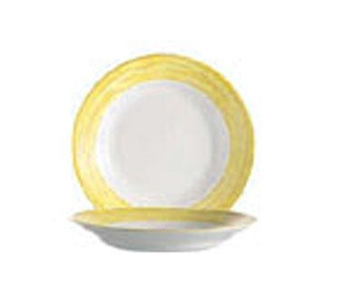 Arcoroc 23 Oz. Stacking Brushed Yellow Rim Soup Dish - 9