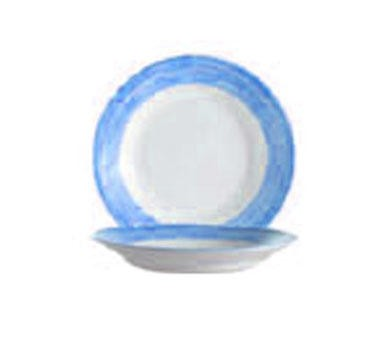 Arcoroc 23 Oz. Stacking Brushed Blue Rim Soup Dish - 9