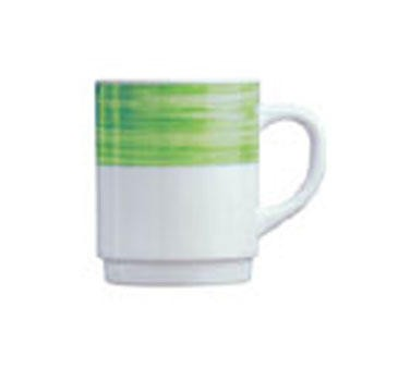 "Cardinal 54734 Arcoroc 8 oz. Brush Green Stacking Mug 3-1/2"" Dia."