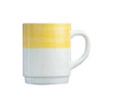 "Cardinal 54735 Arcoroc 8 oz. Brush Yellow Stacking Mug 3-1/2"" Dia."