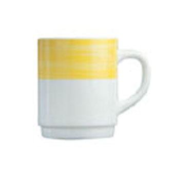 "Cardinal 54735 Arcoroc 8 oz. Brush Yellow Stacking Mug 3-1/2"" Dia."