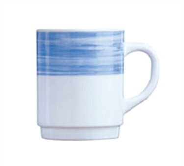 Arcoroc 8 Oz. Stacking White Glass Mug With Brushed Blue Band - 3-1/2