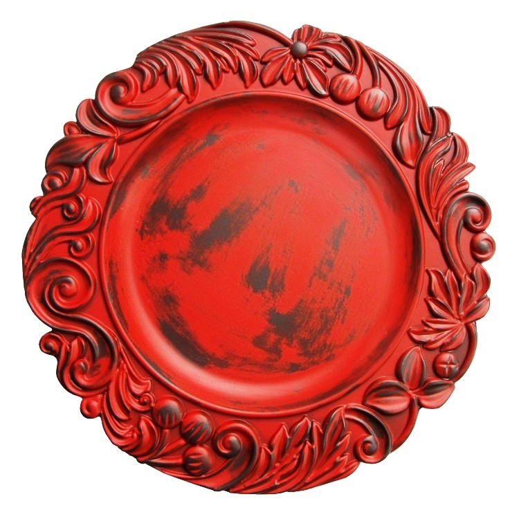 """Jay Import 1320272 Aristocrat Red 14"""" Charger Plate"""