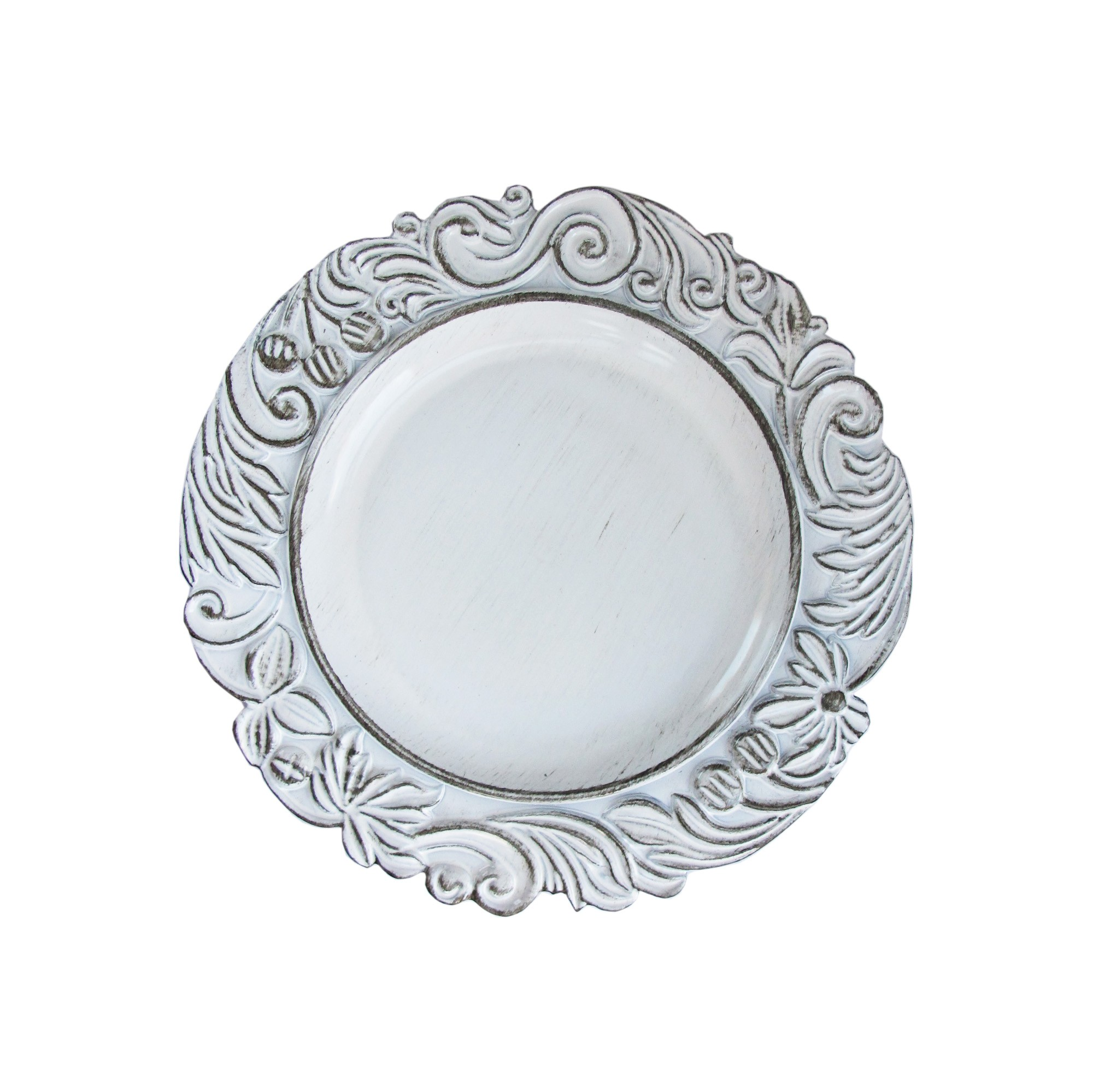 "Jay Companies 1270283 Aristocrat White Antique 14"" Charger Plate"