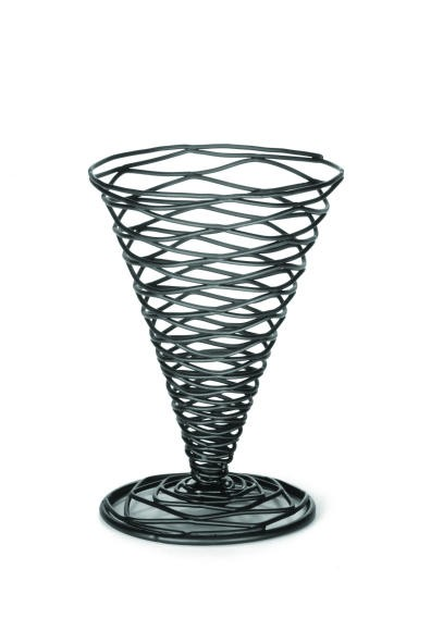 "TableCraft BK157 Artisan Metal Black Appetizer Cone Basket 4-3/4"" x 6-3/4"""