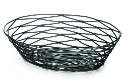 Artisan Black-Coated Metal Oval Basket - 9