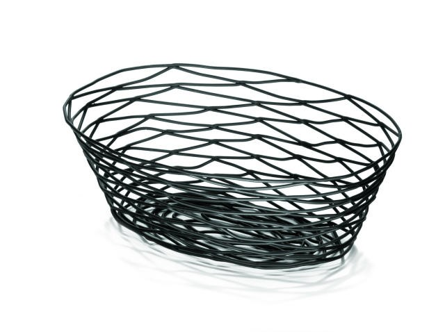 "TableCraft BK17410 Artisan Metal Black Oval Basket 10"" x 7"" x 2-1/2"""