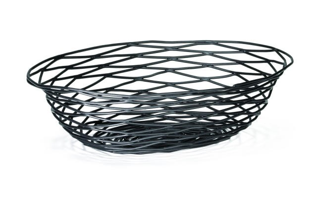 "TableCraft BK17412 Artisan Metal Black Oval Basket 12"" x 9"" x 3"""