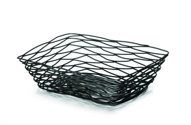 Artisan Black-Coated Metal Rectangular Bread Basket - 9