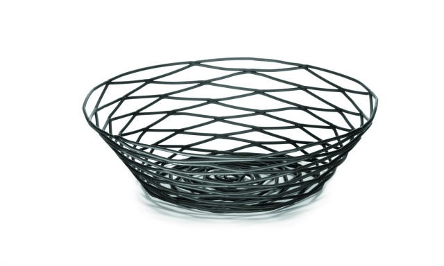 "TableCraft BK17508 Artisan Metal Black Round Basket 8"" Dia. x 2"""