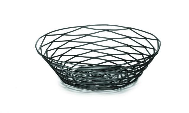 """TableCraft BK17508 Artisan Metal Black Round Basket 8"""" Dia. x 2"""""""