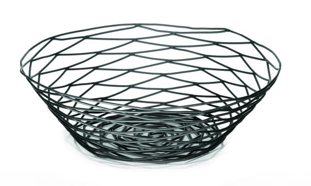 Artisan Black-Coated Metal Round Basket - 10
